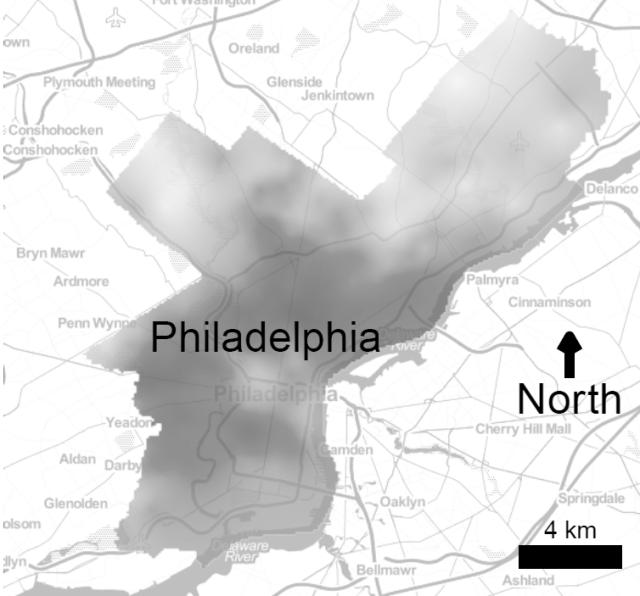 Neighborhood physical disorder in Philadelphia. Draker area within Philadelphia have higher levels of physical disorder.