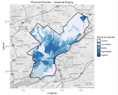 Physical Disorder in Philadelphia estimated using Universal Kriging