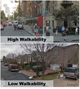 High and low walkability neighborhoods in NYC