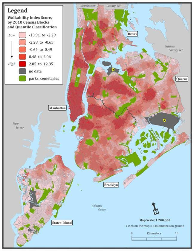 Map Of New York Ny Neighborhoods.Walkability Built Environment And Health Research Group